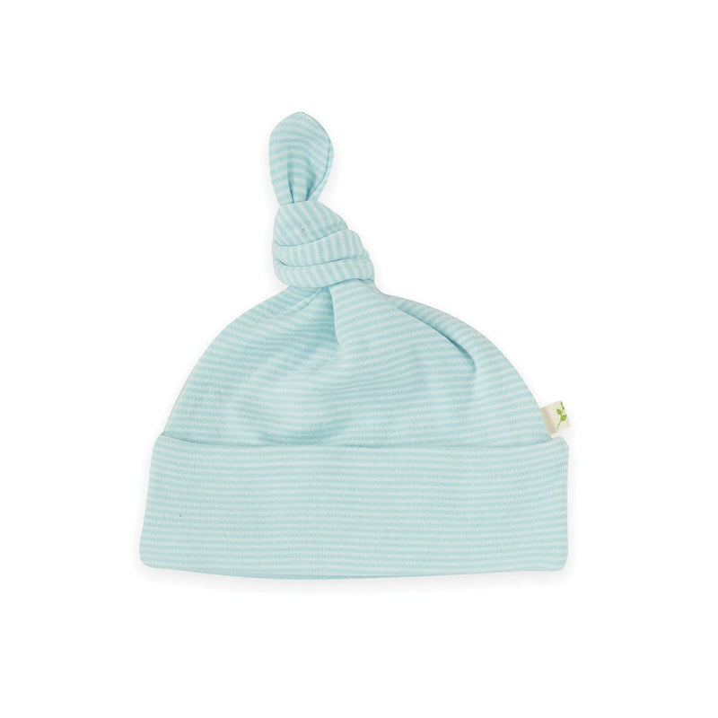 Cool Blue Stripes Organic Knotted Beanie