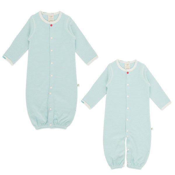 Cool Blue Stripes Organic Convertible Sleepsuit