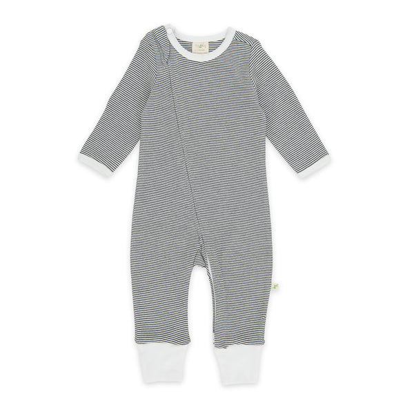 Graphite Stripes Organic Long Sleeve Sleepsuit with Zip