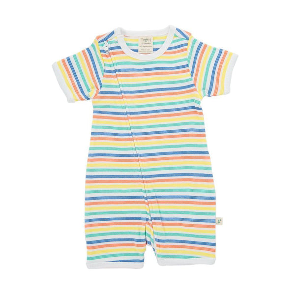 Rainbow Stripes Organic Sleepsuit with Zip