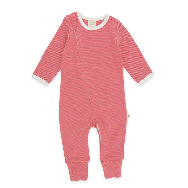 Raspberry Stripes Organic Sleepsuit with Zip