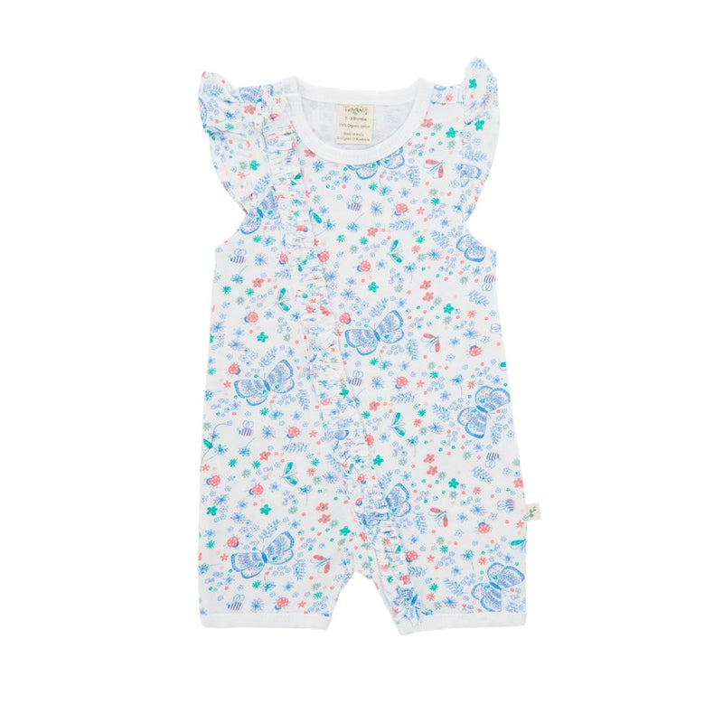 Butterfly Baby Cap Sleeve Zipsuit made with Organic Cotton