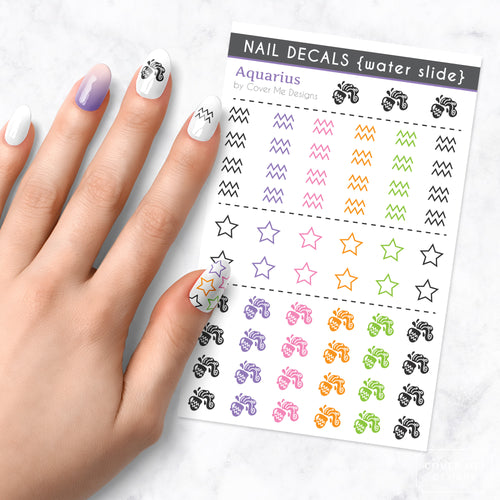 aquarius zodiac nail art decal sheet