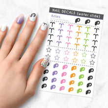 Load image into Gallery viewer, aries zodiac nail art decal sheet