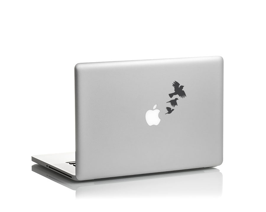 flying crows ravens vinyl decal on laptop