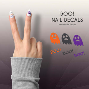 boo cute ghost and text nail decals