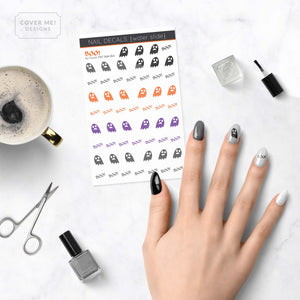 boo cute ghost and text nail decals on table