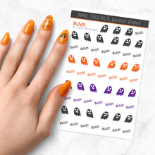 Load image into Gallery viewer, boo halloween ghost nail art decal sheet