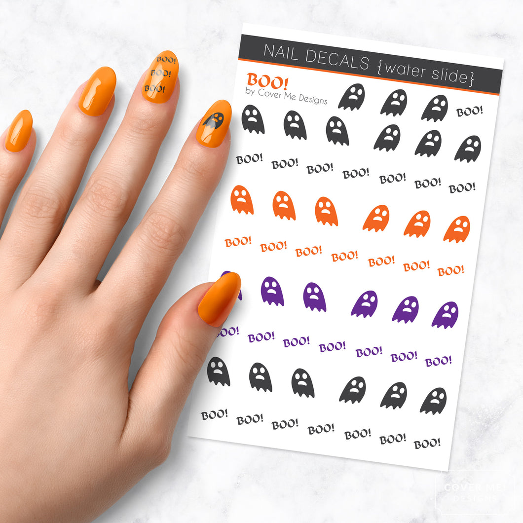 boo halloween ghost nail art decal sheet