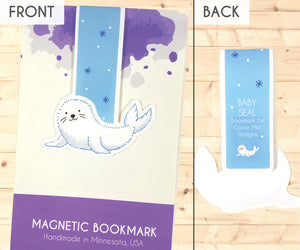 baby fur seal magnetic bookmark front and back