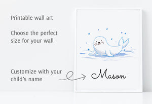 Printable wall art of a baby fur seal, several sizes available, customize with your child's name
