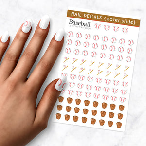 Baseball water slide nail art decals