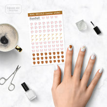 Load image into Gallery viewer, Baseball nail art with sheet of nail decals