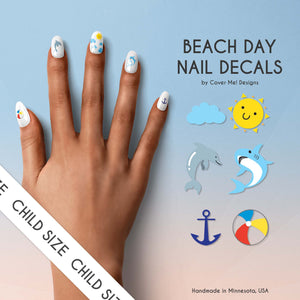 beach summer kid nail decals with sun, dolphins, sharks, anchors, and beach ball