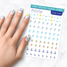 Load image into Gallery viewer, beach day summer kids nail art decal sheet