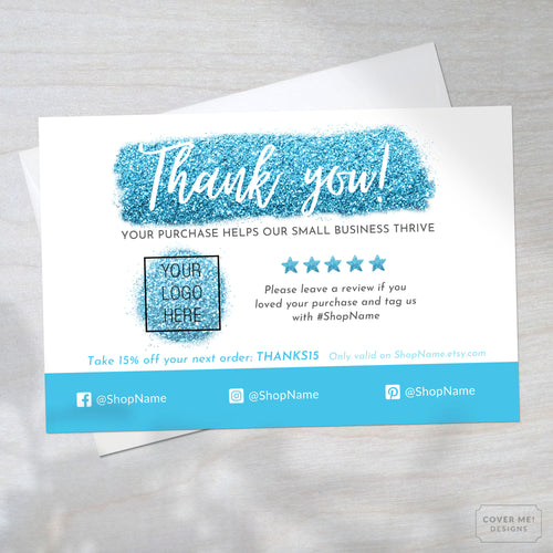 Template of a blue glitter thank you card for small business