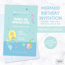 Load image into Gallery viewer, blue mermaid kids birthday invitation printable and editable digital download