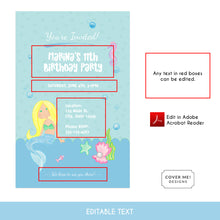 Load image into Gallery viewer, blue mermaid kids birthday invitation printable and editable text digital download