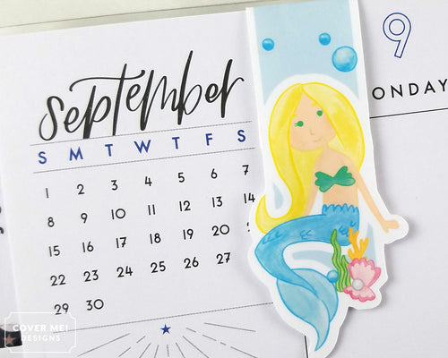blue mermaid magnetic bookmark on planner