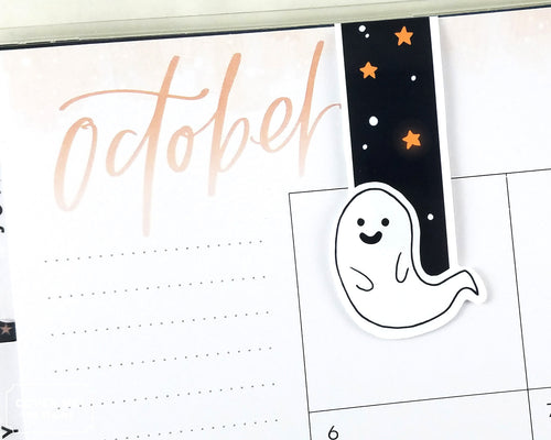 cute halloween ghost magnetic bookmark on planner