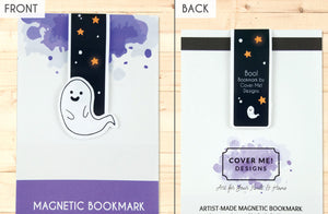 cute halloween ghost magnetic bookmark front and back