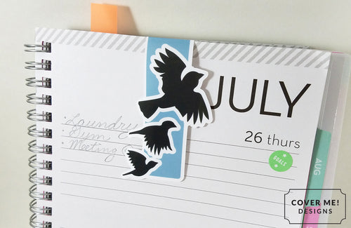 flying crows ravens magnetic bookmark on planner