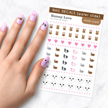Load image into Gallery viewer, bunny love kids nail art decal sheet
