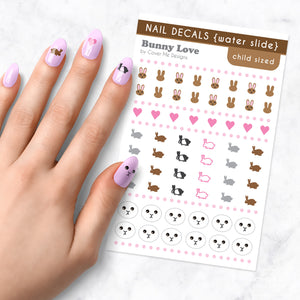 bunny love kids nail art decal sheet