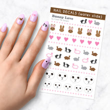 Load image into Gallery viewer, bunny love rabbit nail art decal sheet