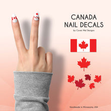 Load image into Gallery viewer, canadian flag nail decals with maple leaves