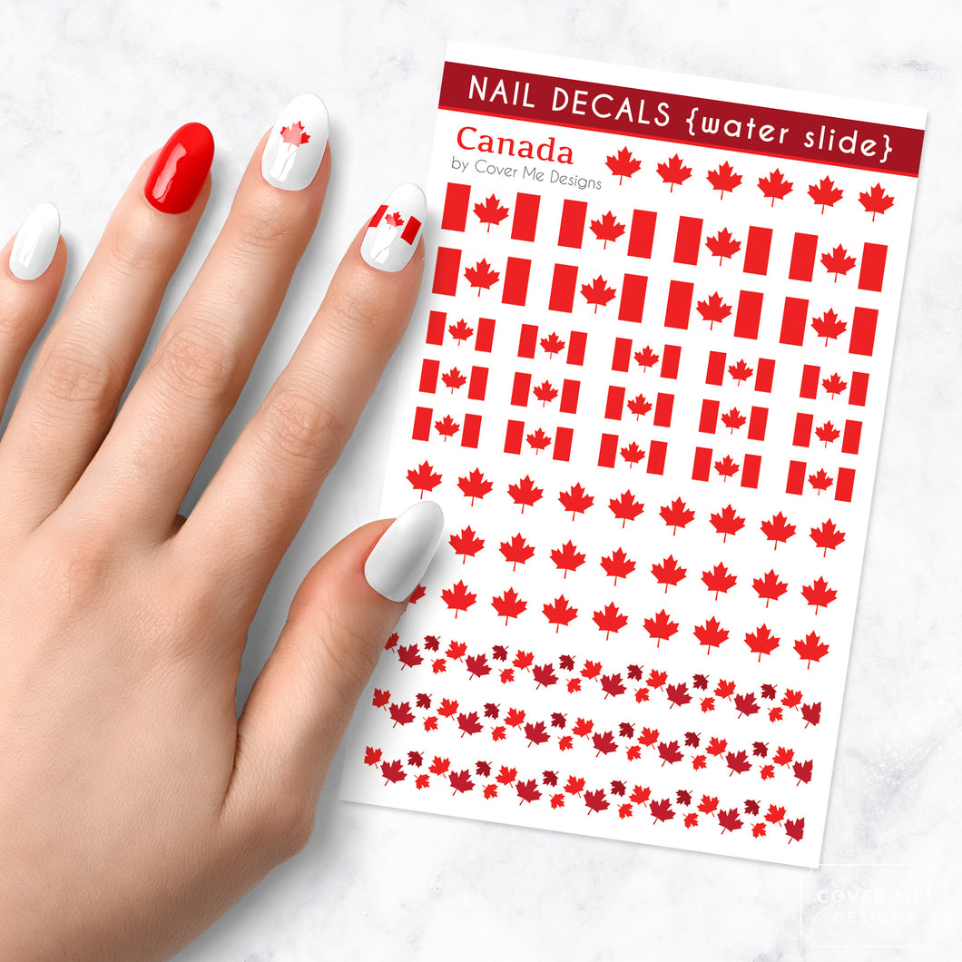 canadian flag nail art decal sheet