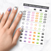 Load image into Gallery viewer, cancer zodiac crab nail art decal sheet
