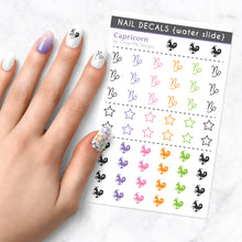Load image into Gallery viewer, capricorn zodiac nail art decal sheet