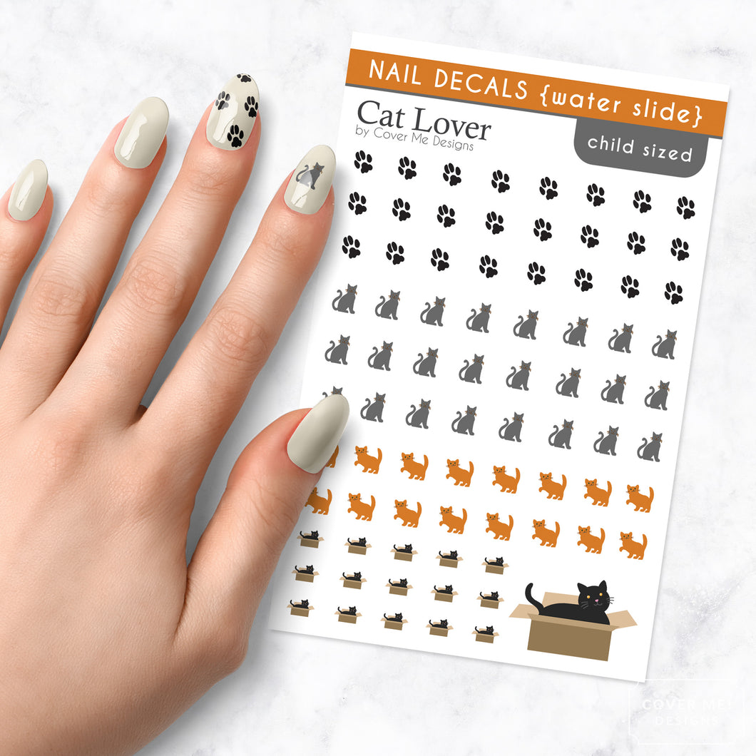 cat lover nail art decals with pawprints and kitties