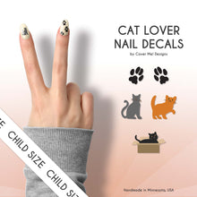 Load image into Gallery viewer, cat kitty lover kid nail decals with paw prints