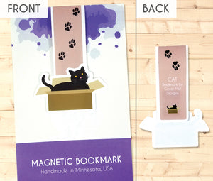 black cat in a cardboard box with paw prints magnetic bookmark front and back