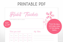 Load image into Gallery viewer, 30 day habit tracker pink cherry blossom sakura digital downloadable planner page close up view