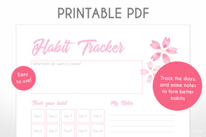 30 day habit tracker pink cherry blossom sakura digital downloadable planner page close up view