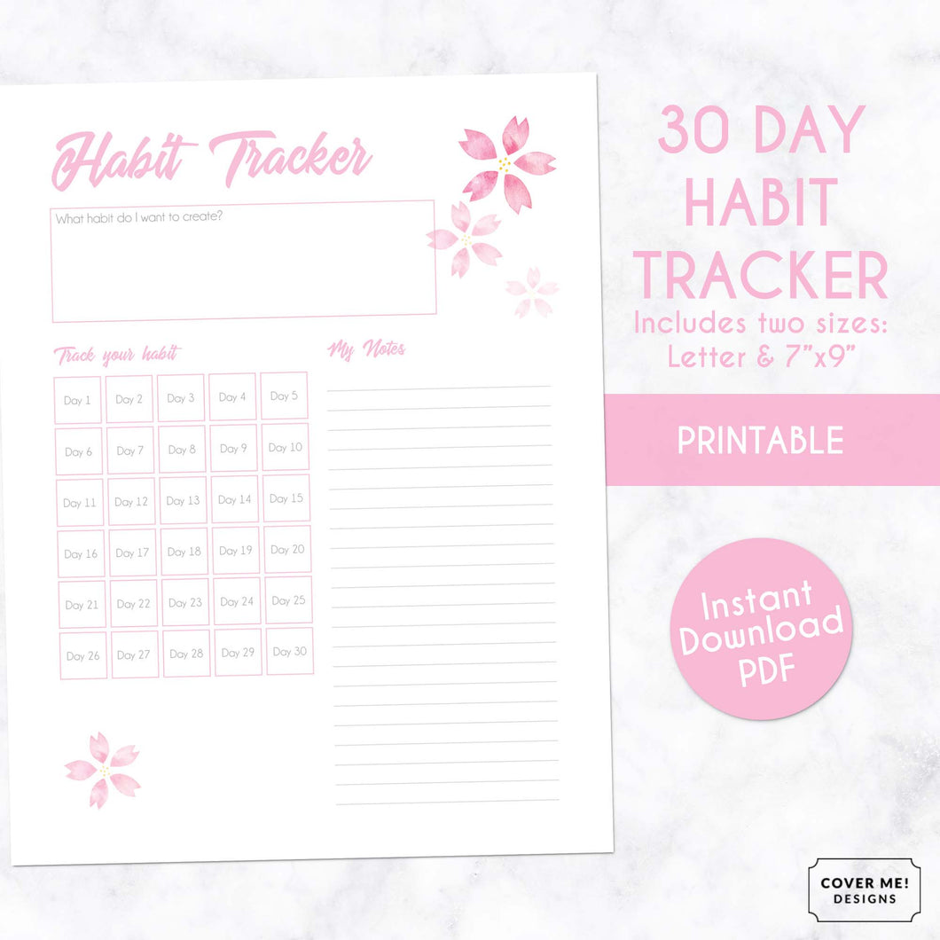 30 day habit tracker pink cherry blossom sakura digital downloadable planner page