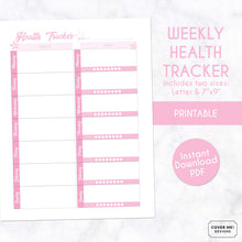 Load image into Gallery viewer, weekly health tracker cherry blossom sakura theme printable planner page digital download