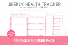 Load image into Gallery viewer, weekly health tracker cherry blossom sakura theme printable planner page digital download close up view