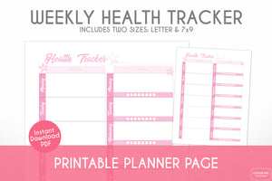 weekly health tracker cherry blossom sakura theme printable planner page digital download close up view