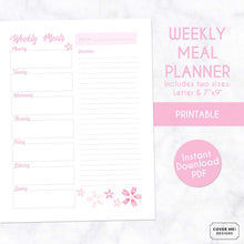 Load image into Gallery viewer, weekly meal planner cherry blossom sakura printable planner page digital download