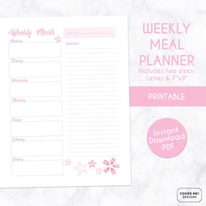 weekly meal planner cherry blossom sakura printable planner page digital download