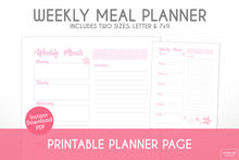 Load image into Gallery viewer, weekly meal planner cherry blossom sakura printable planner page digital download close up view