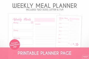 weekly meal planner cherry blossom sakura printable planner page digital download close up view
