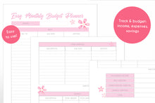 Load image into Gallery viewer, monthly budget planner cherry blossom sakura theme digital download printable planner pages close up view