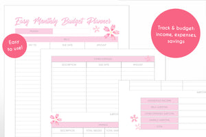 monthly budget planner cherry blossom sakura theme digital download printable planner pages close up view