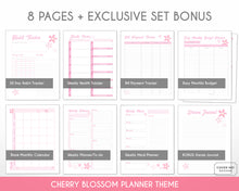 Load image into Gallery viewer, cherry blossom planner bundle with 8 digital printable planner pages inserts detail view