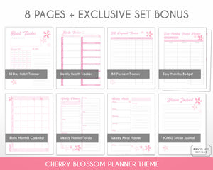 cherry blossom planner bundle with 8 digital printable planner pages inserts detail view